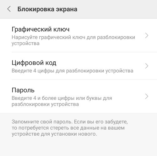 Виды паролей на Xiaomi
